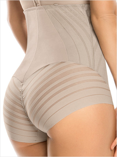LEONISA 012906 LACE STRIPE HIGH-WAISTED BODY SHAPER