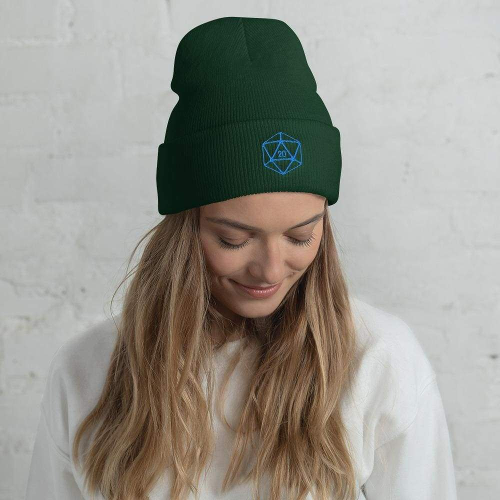 D20 Classic Teal Crit Cuffed Beanie / Tuque - Spruce - SoMattyGameZ