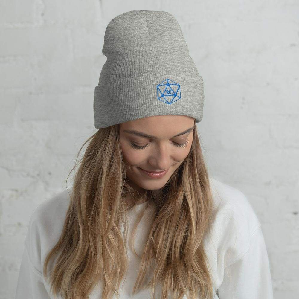 D20 Classic Teal Crit Cuffed Beanie / Tuque - Heather Grey - SoMattyGameZ