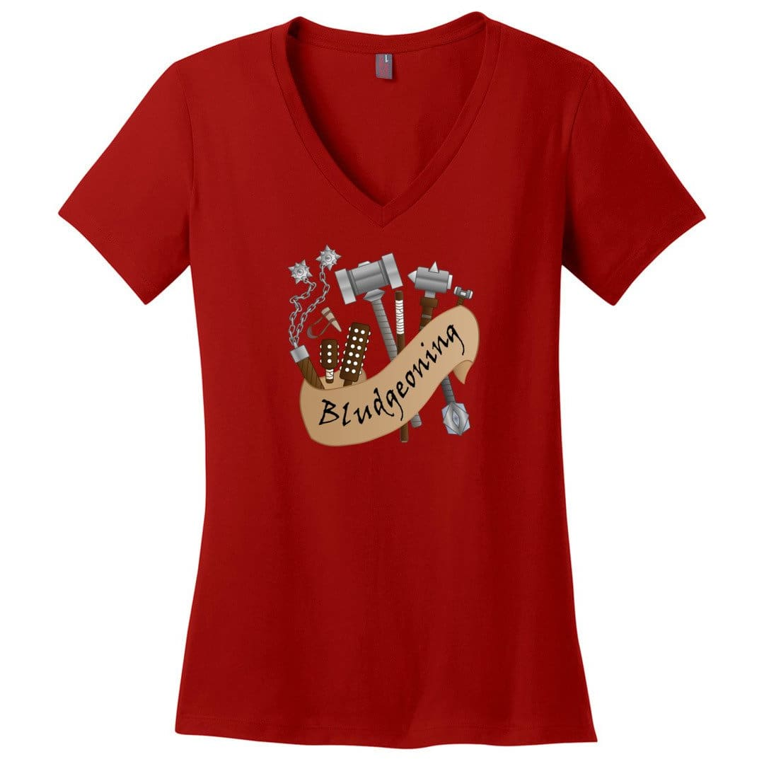 D&D What's Your Damage? Bludgeoning Womens Premium V-Neck Tee - Red / XS