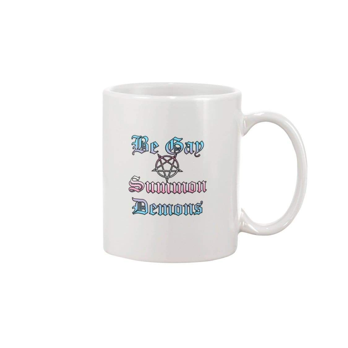 Dice Priori Be Gay Summon Demons Trans 11oz Coffee Mug - White / 11OZ - Mugs