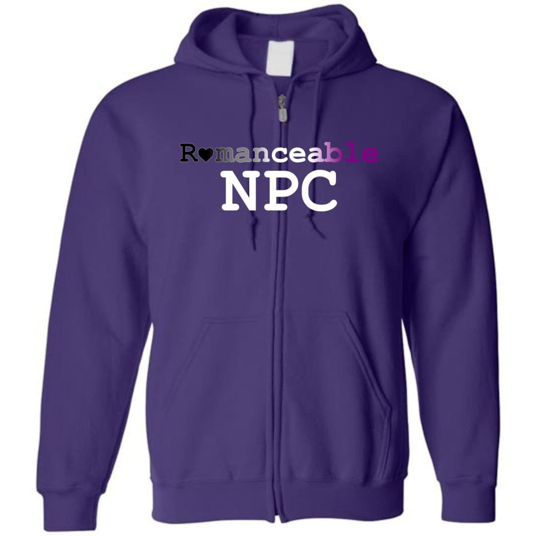 Dice Priori Romanceable NPC Ace Unisex Zip Hoodie - Purple / S