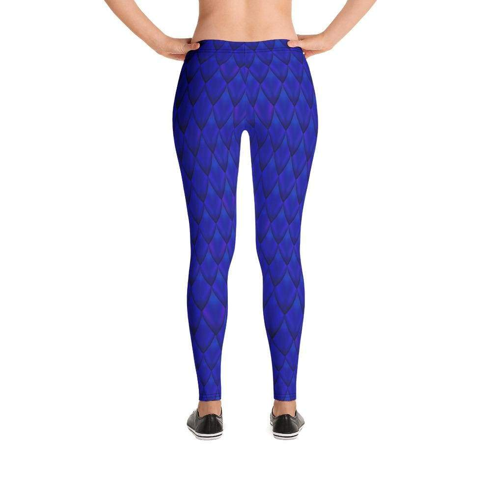 Dragon Scale Leggings - Blue Dragon - XS - All Over Prints