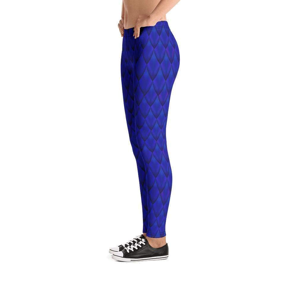 Dragon Scale Leggings - Blue Dragon - All Over Prints