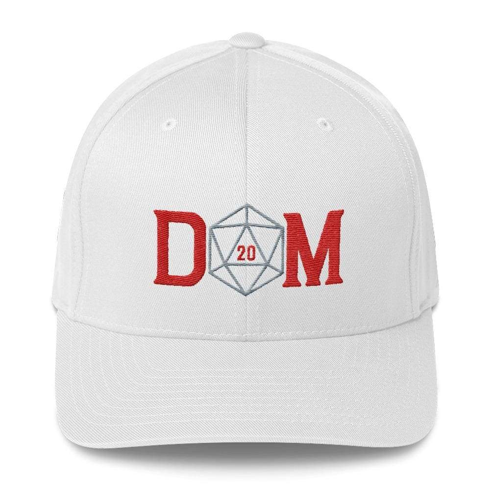 Dungeon Master DM Crit D20 Structured Twill Flexfit Cap - White / S/M