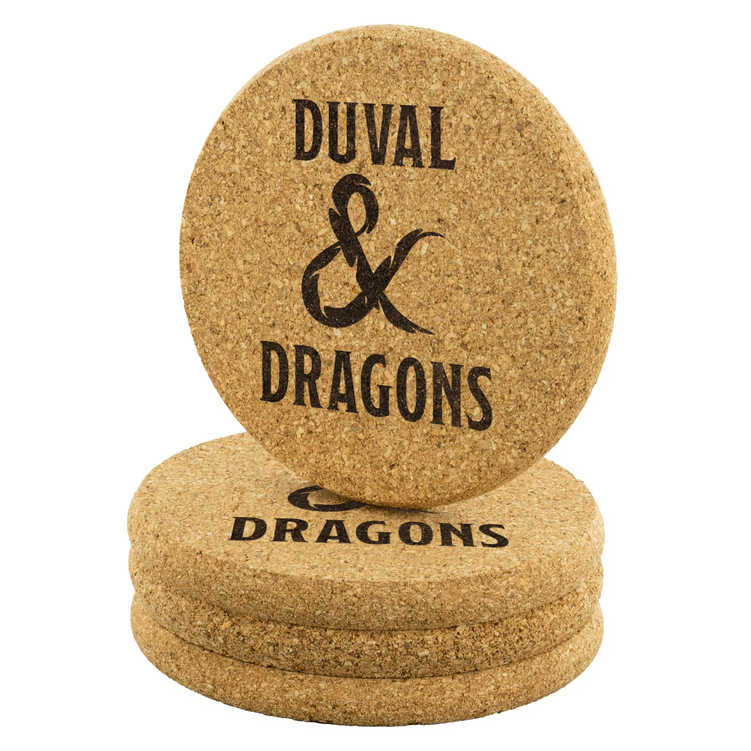 Duval & Dragons Logo Round Cork Coaster Set of 4 - Round Cork Coaster - 4pc - Coasters