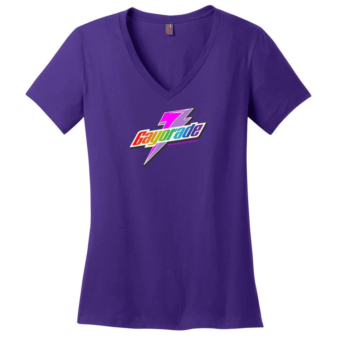 Gayorade Womens Premium V-Neck Tee - Purple / XS