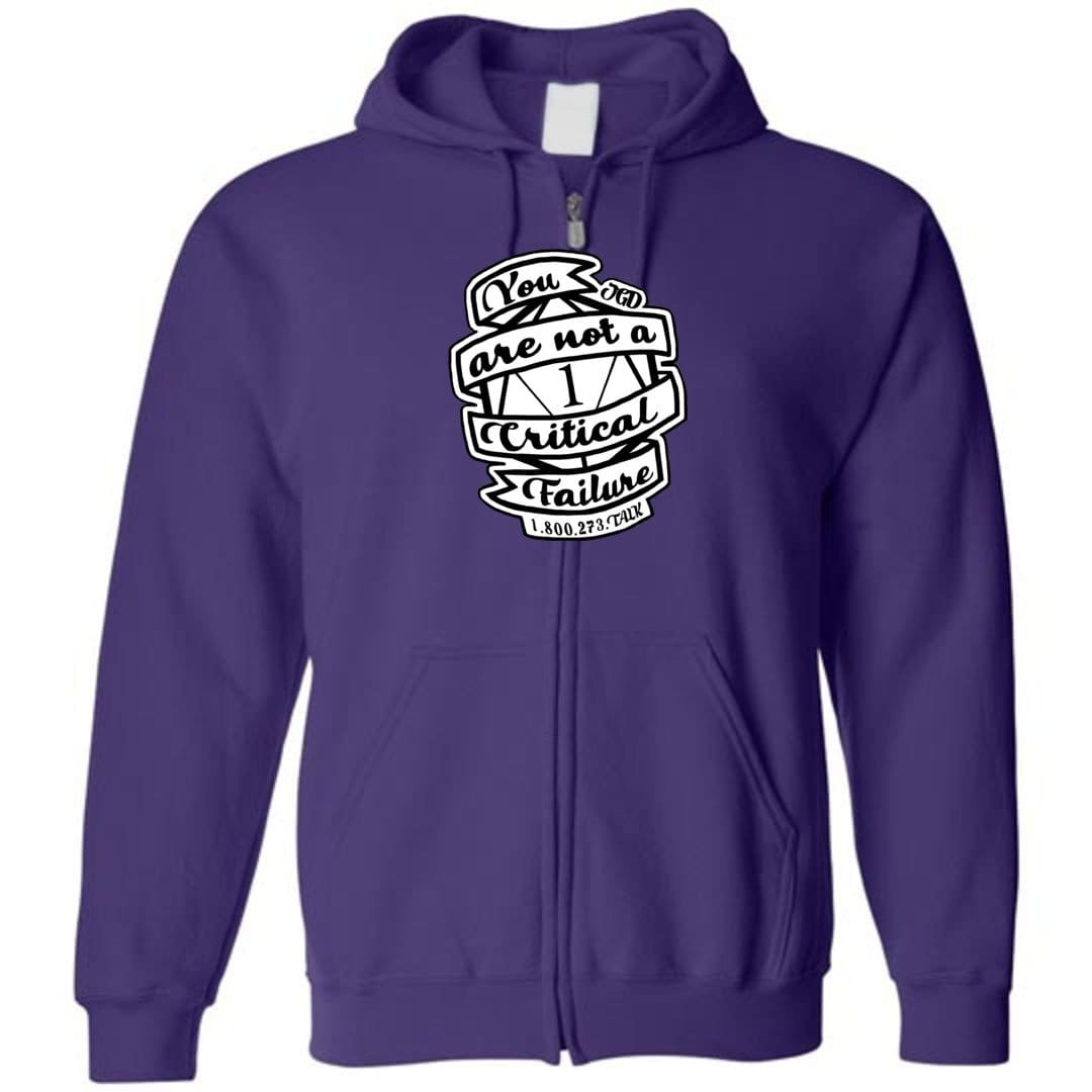 Jasper's Game Day - You Are Not A Critical Failure - Team Jasper Unisex Zip Hoodie - Purple / S