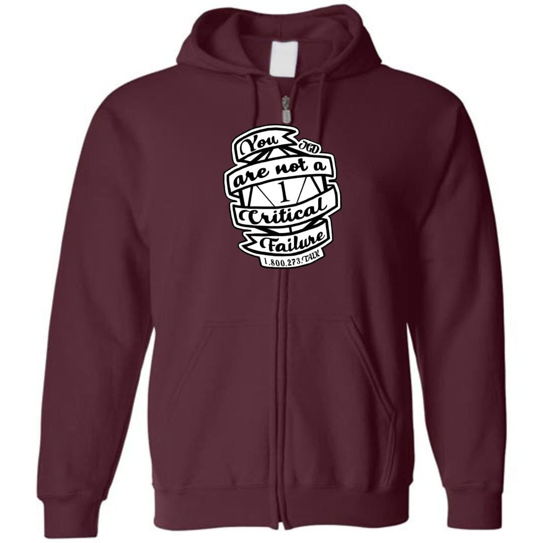 Jasper's Game Day - You Are Not A Critical Failure - Team Jasper Unisex Zip Hoodie - Maroon / S