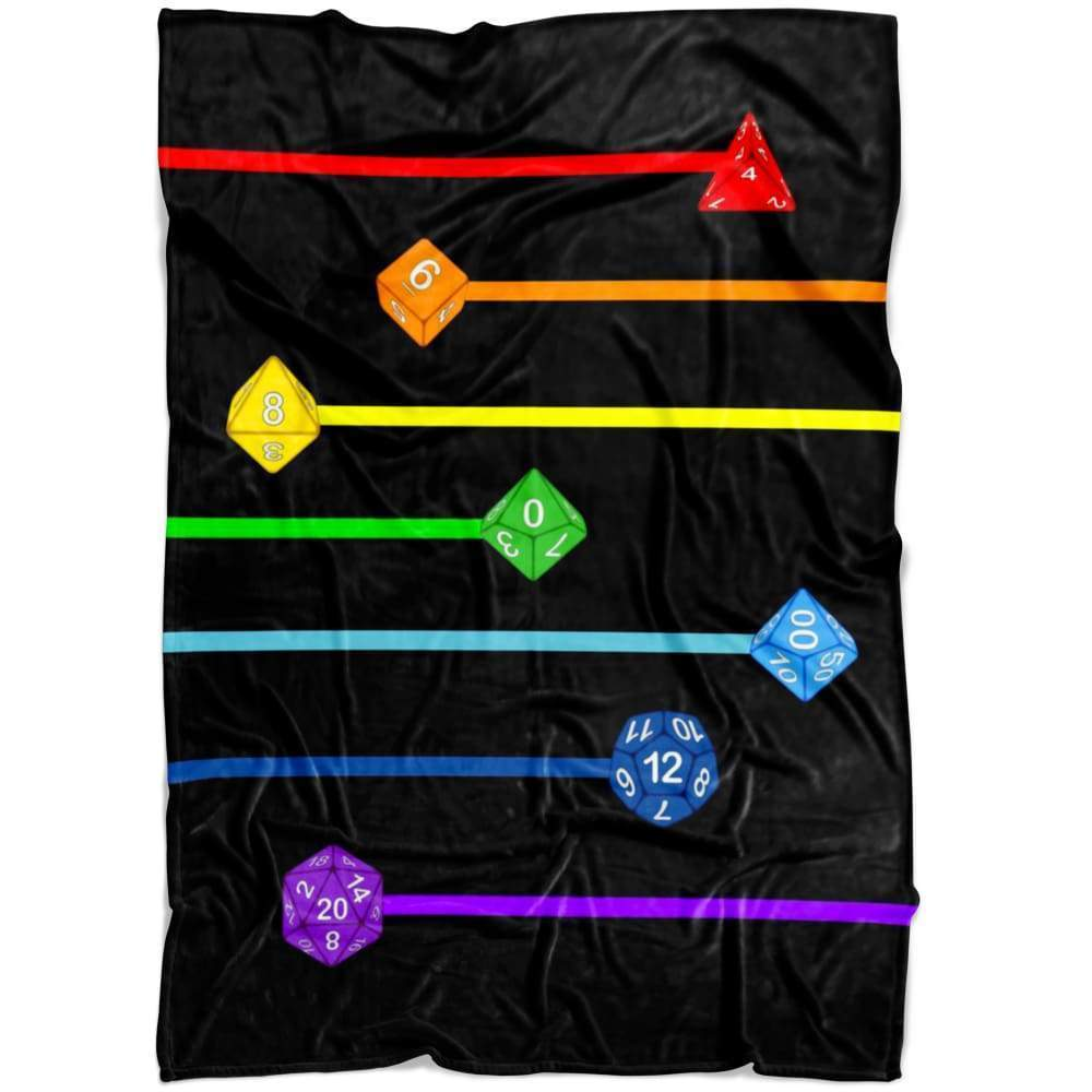 Polyhedral Pride - Rainbow Dice Fleece Blanket - Small Fleece Blanket (40x30) - Blankets