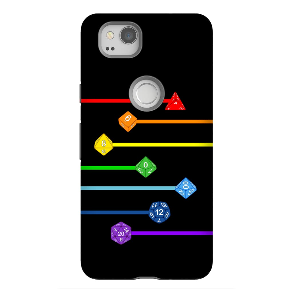 Polyhedral Pride - Rainbow Dice Phone Case : Tough - Google Pixel 2