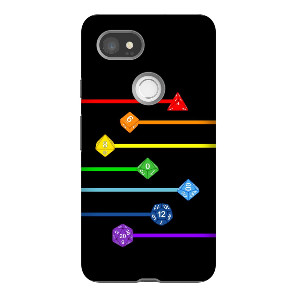 Polyhedral Pride - Rainbow Dice Phone Case : Tough - Google Pixel 2 XL
