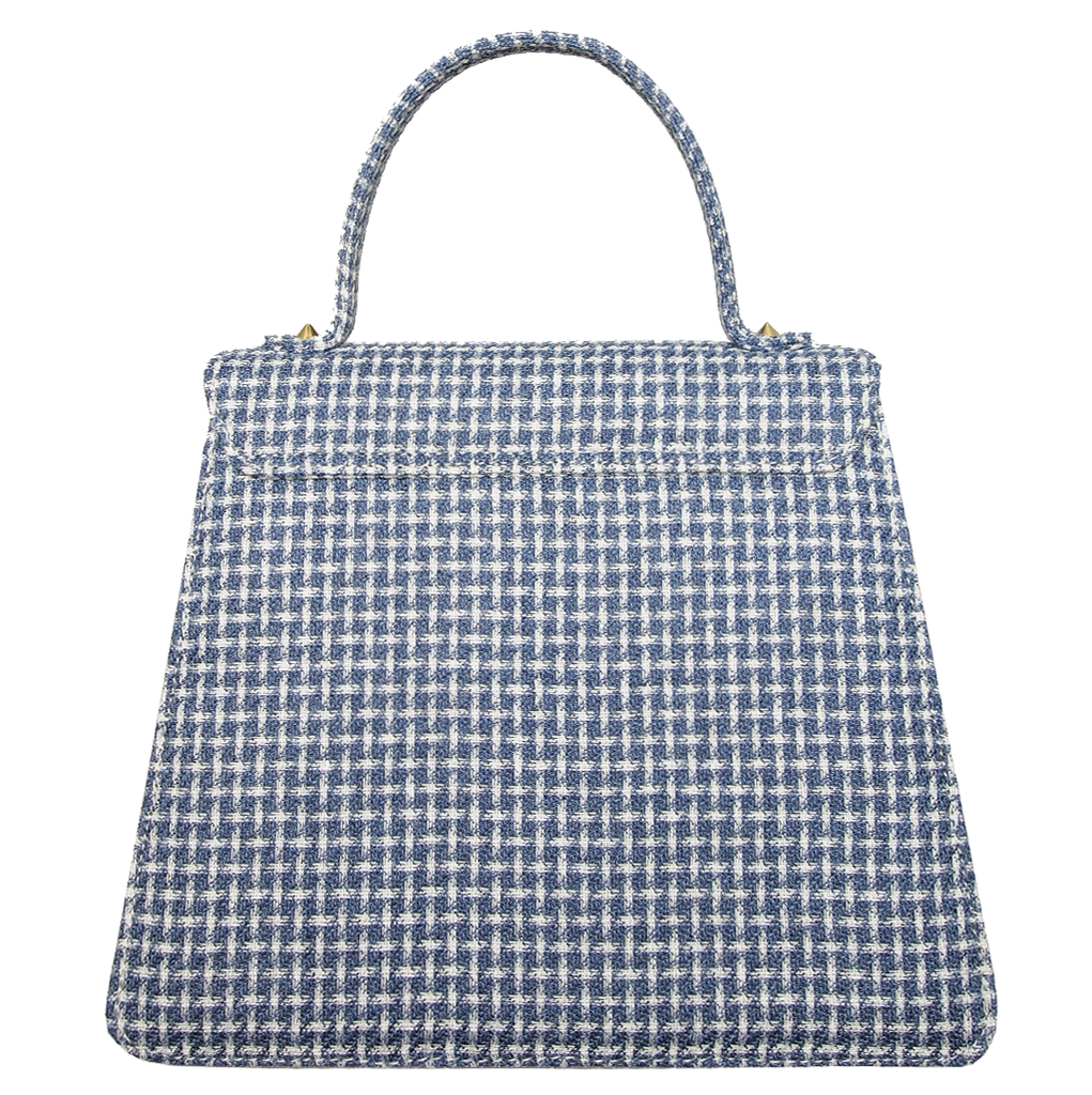Top Handle Eco Wool Fabric Handbag Blue