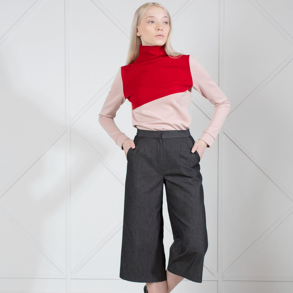 Two-Tone Stretch-Knit Turtleneck Top
