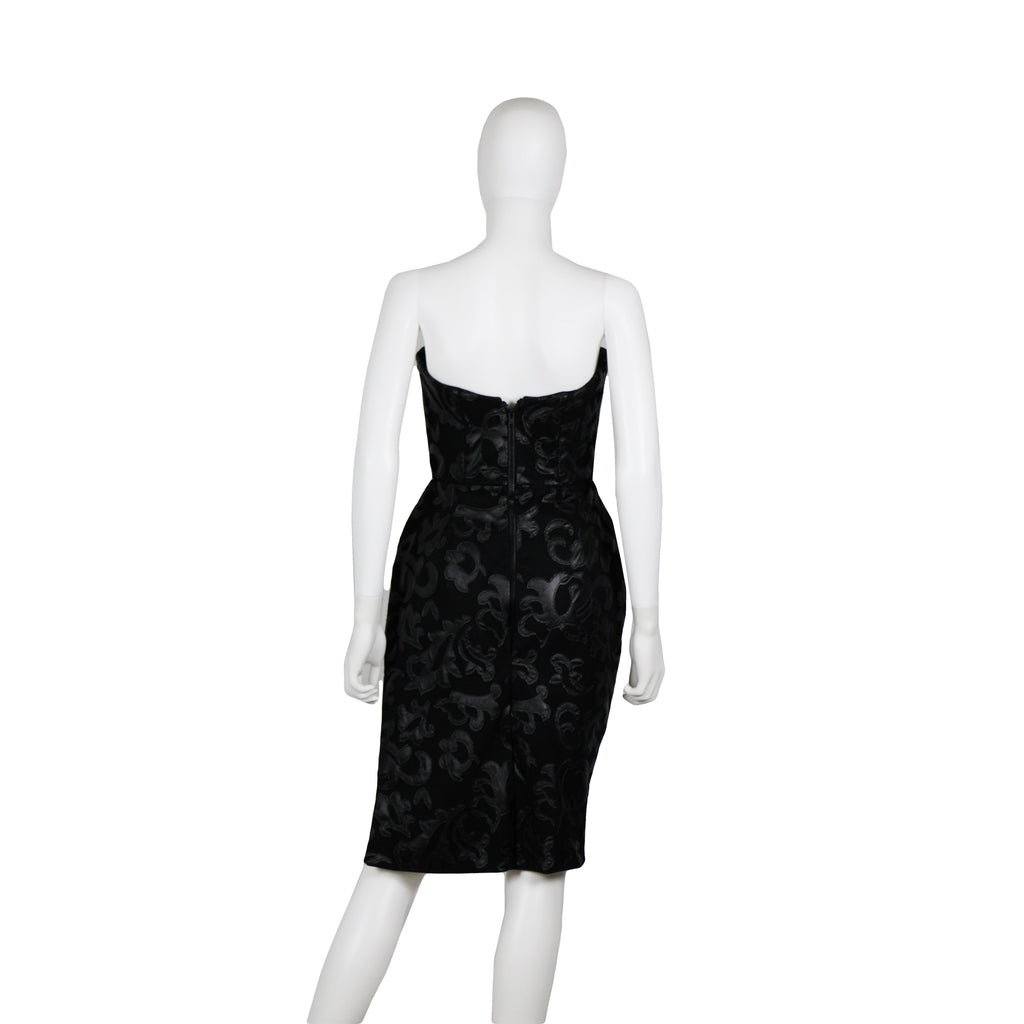 Strapless Faux Leather Lace Dress - SAMPLE