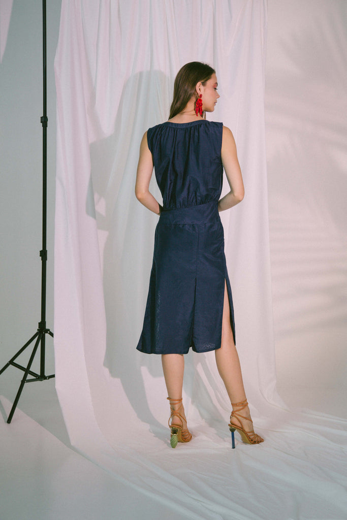 Agape Midi Dress in Navy