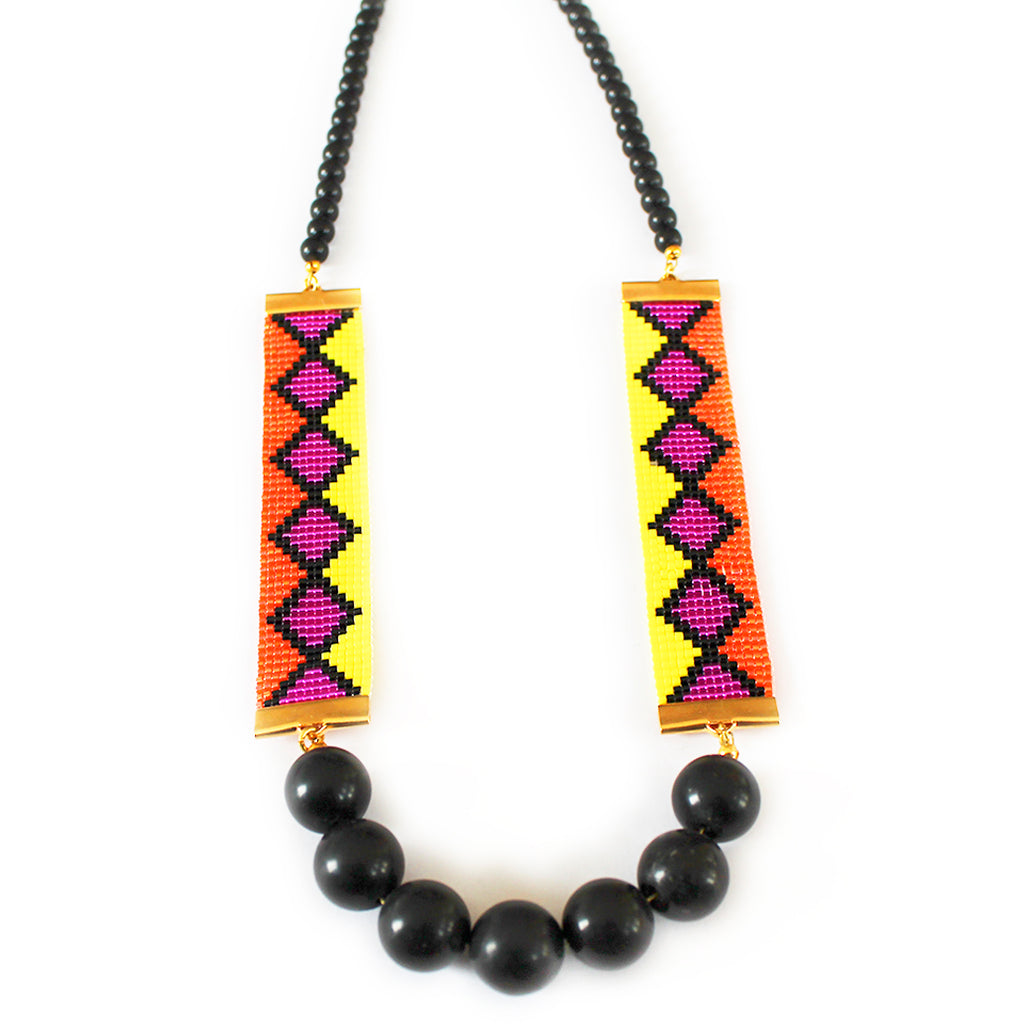 Miami Nights Woven Necklace - Orange and Pink