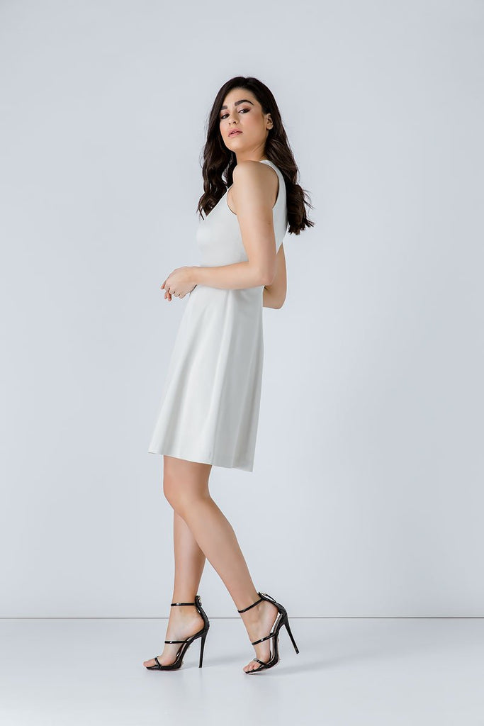 A Line Sleeveless White Dress