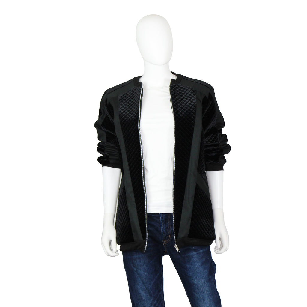 Signature Quilted Velour Bomber Jacket