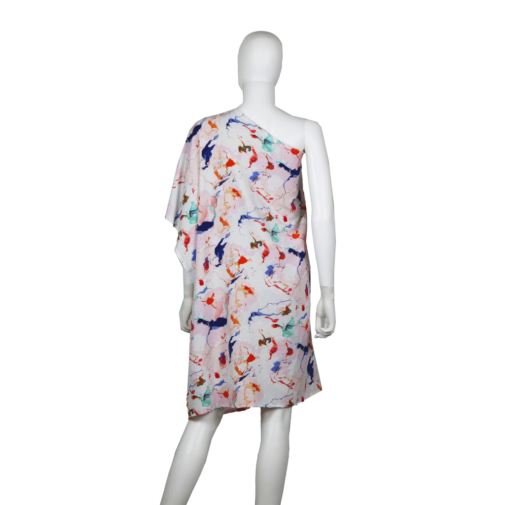 One Shoulder Abstract Print Caftan