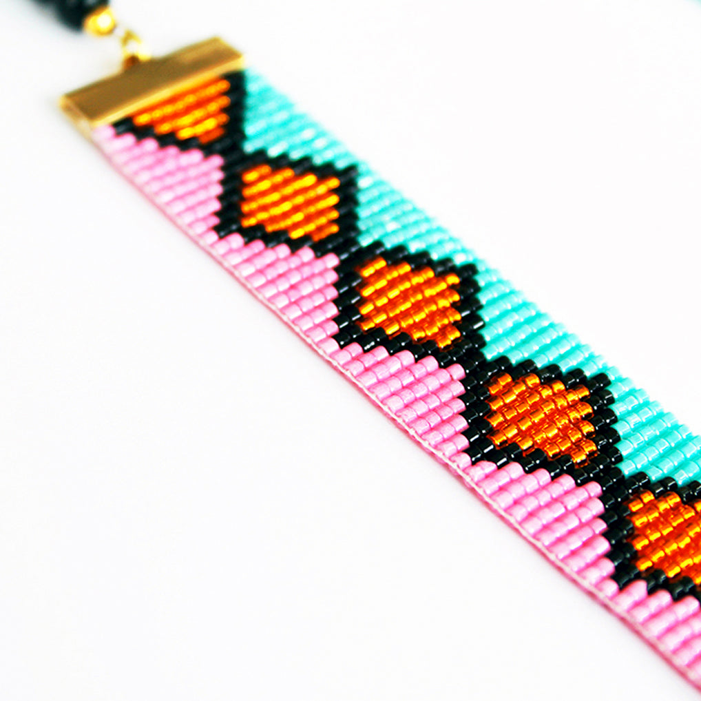 Miami Nights Woven Necklace - Pink and Turquoise
