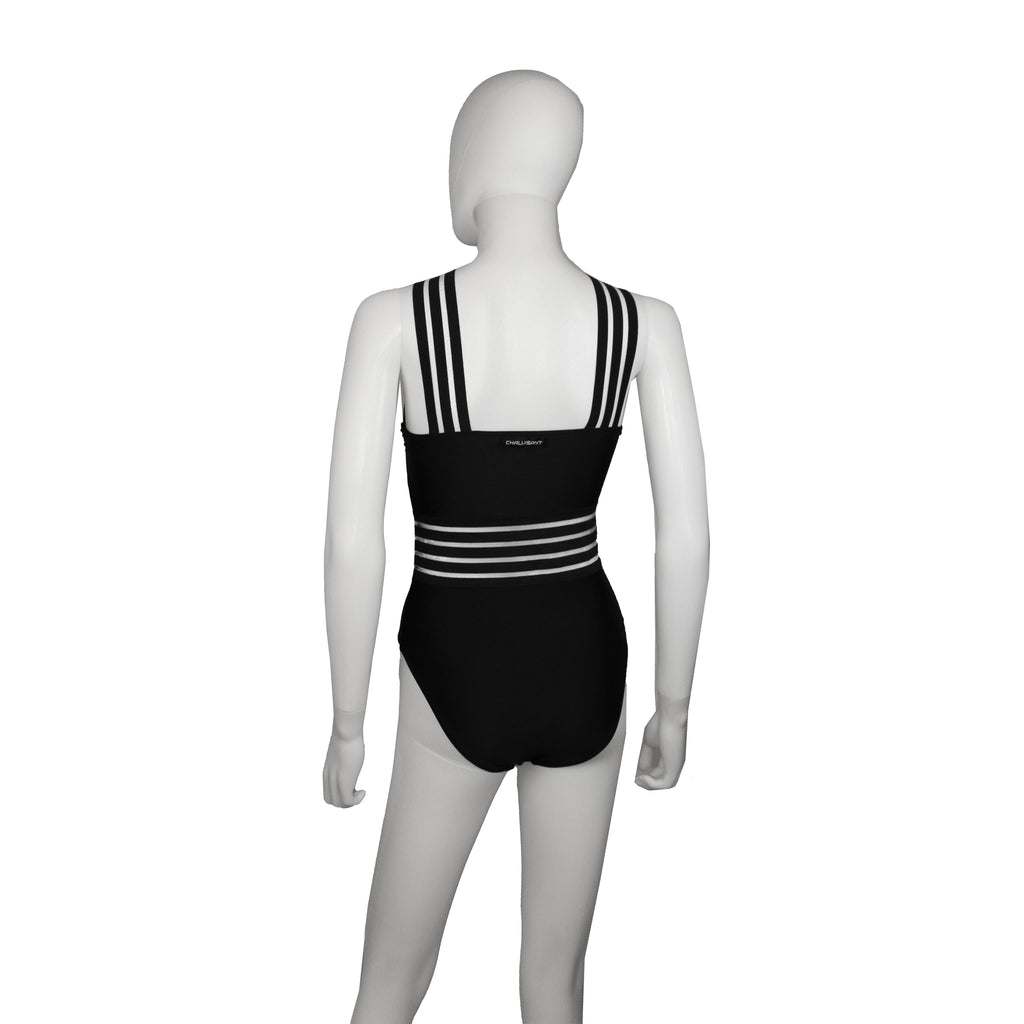 Black Graphic One-Piece Swimsuit