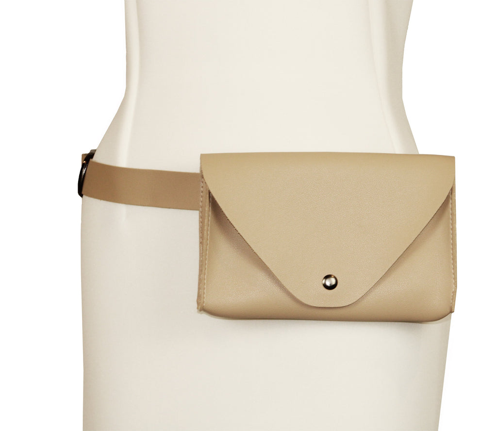 Chaluisant Faux Leather Belt Envelope Bag - Beige