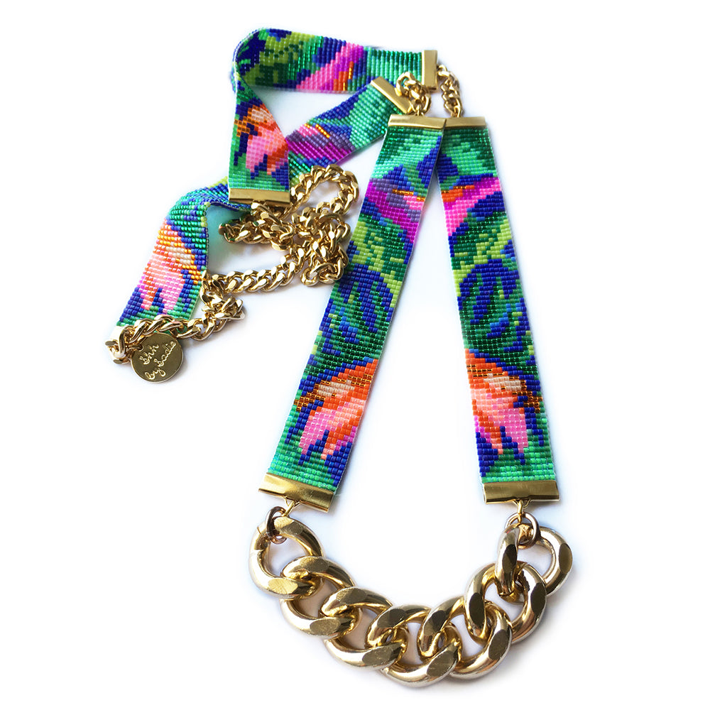 Tropic Exotic Floral Jungle Print Beaded Necklace