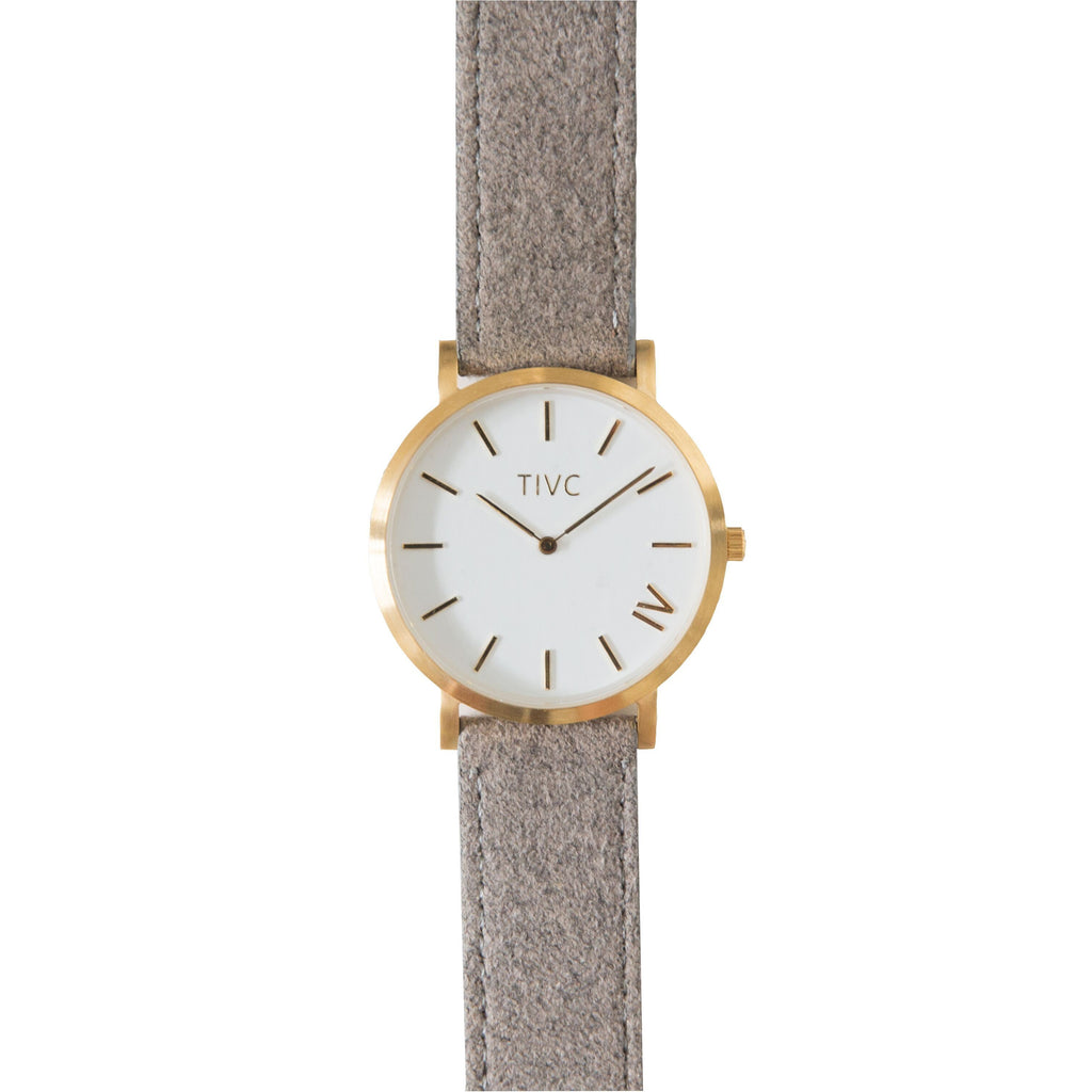 Gold | Grey Suede Stitched Band Time IV Change Watches