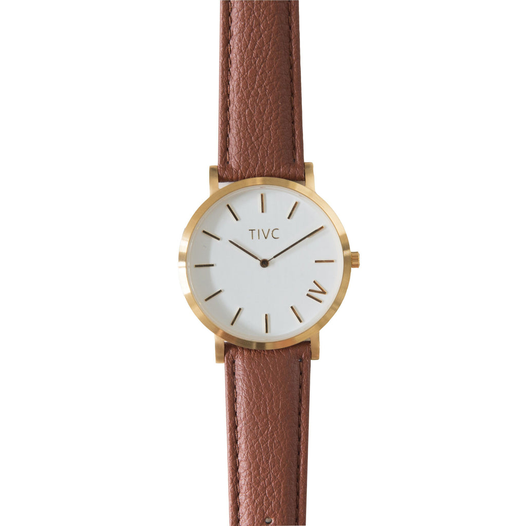 Gold | Tan Stitched Band Time IV Change Watches
