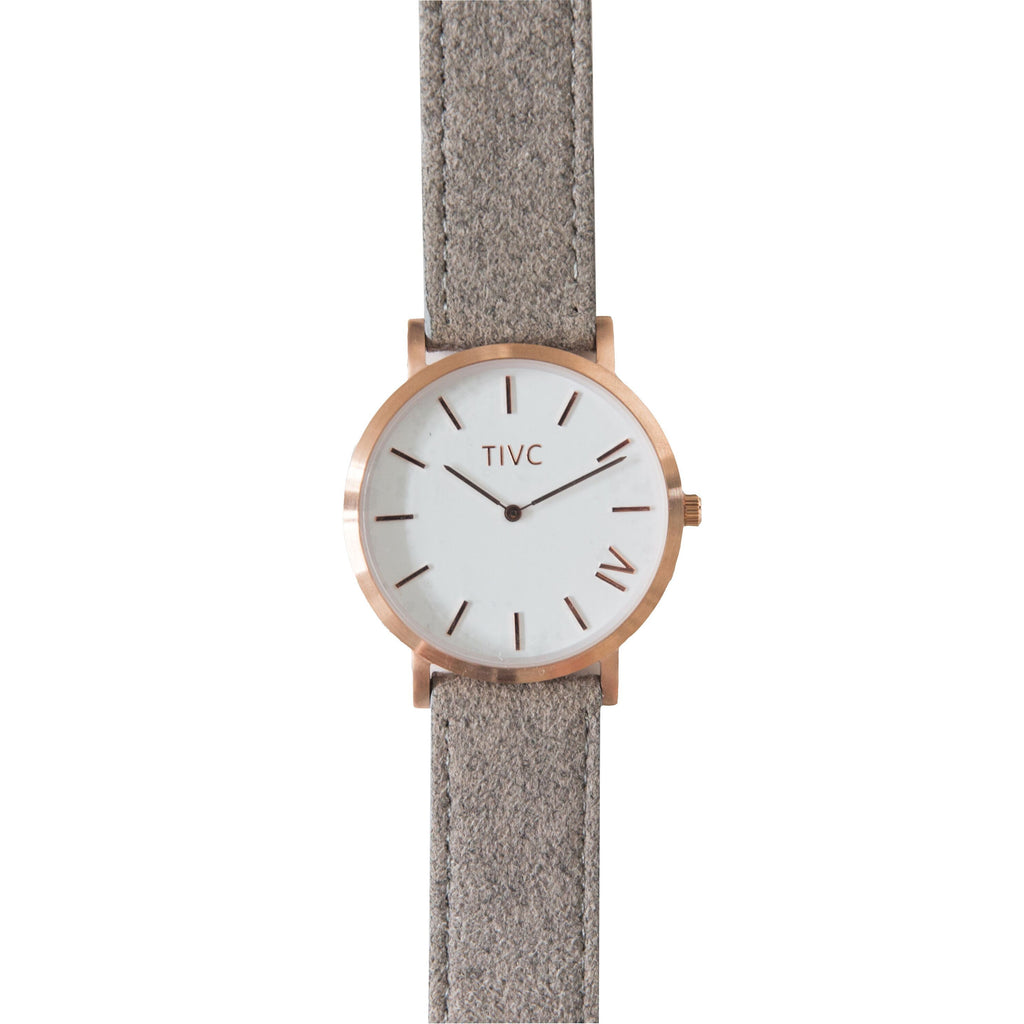 Rose Gold | Grey Suede Stitched Band Time IV Change