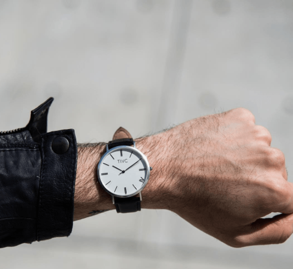Silver | Black Stitched Band Time IV Change Watches
