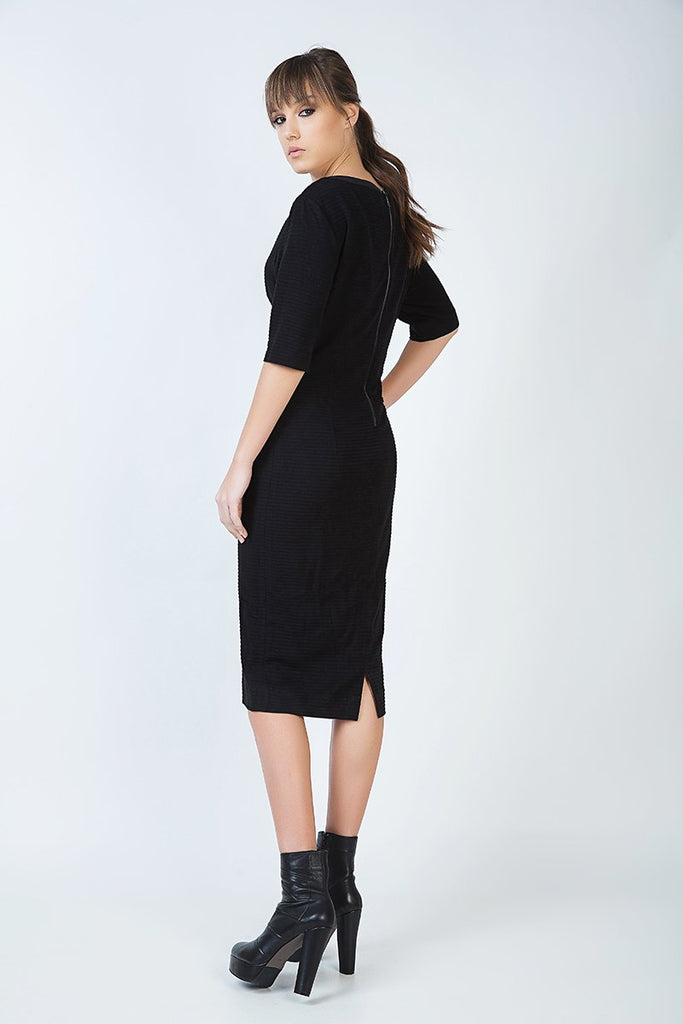 Elbow Sleeve Straight Fitted Dress