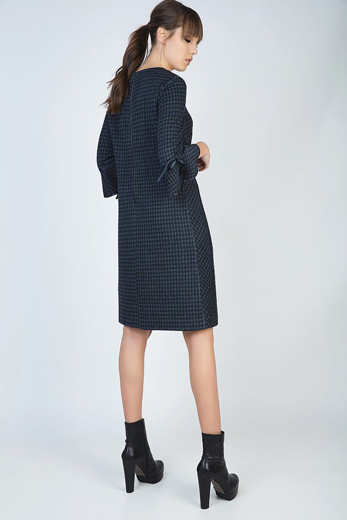 Bell Sleeve Straight Check Dress