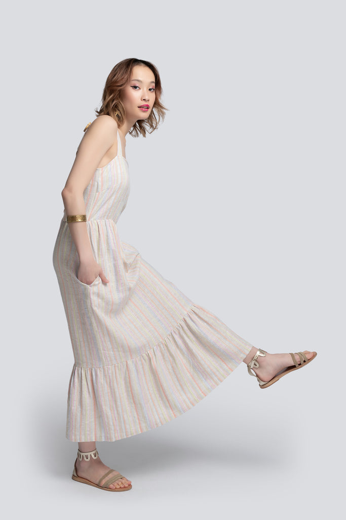 Gabriella Tiered Sundress in Striped Linen