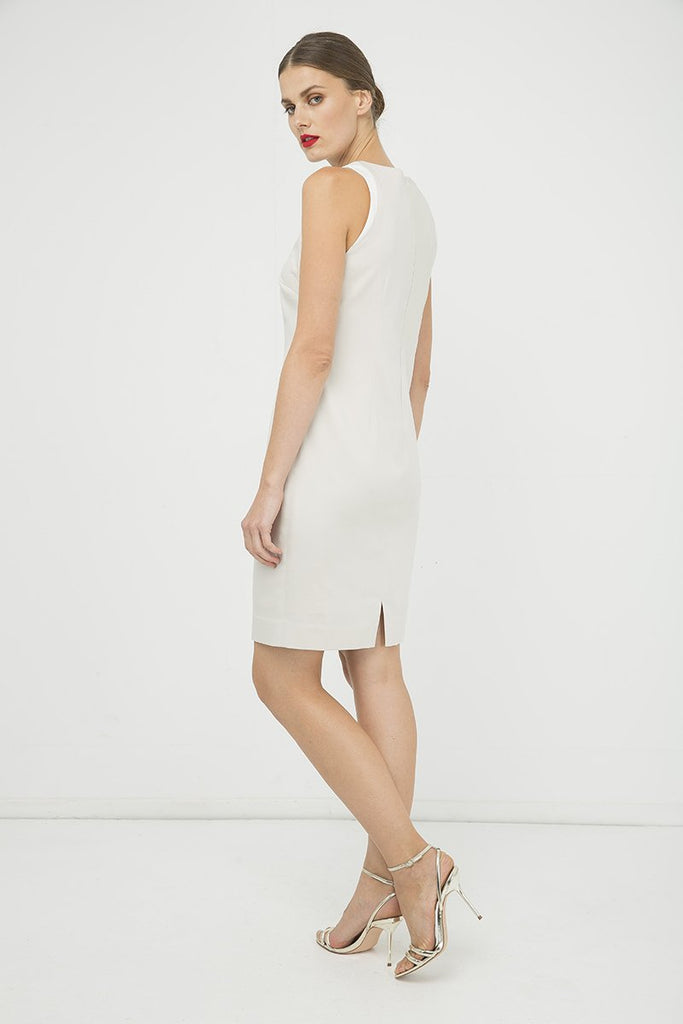 Sand Colour Sleeveless Dress With Contrast Detail