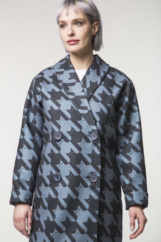 Long Cat-print Coat (Vegan)