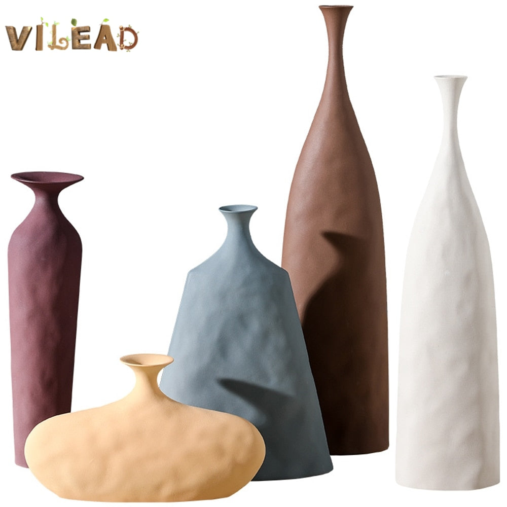 VILEAD Ceramic Flower Vases Figurines Nordic Cylinder Flower Pots Home Living Room Decoration Hogar Handicraft Modern Ornaments