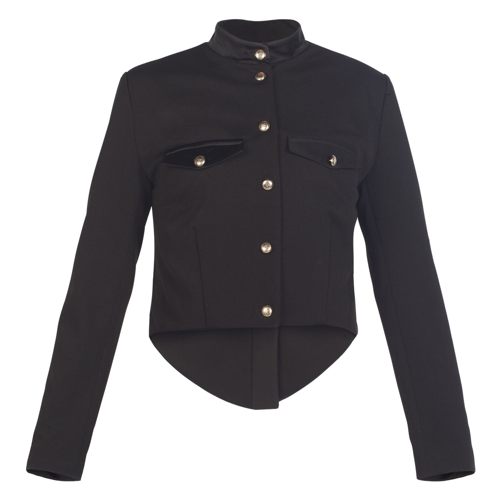 Black Wool Militray Style Tailcoat Jacket