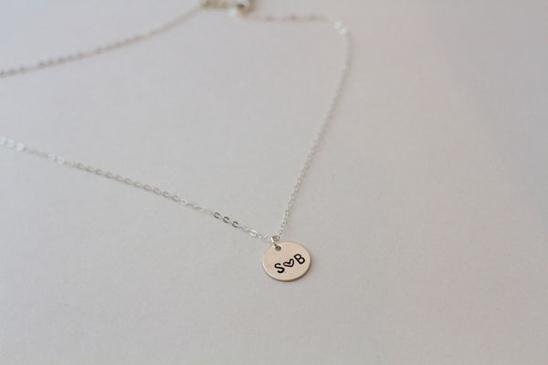 Circle Initial Necklace - Silver