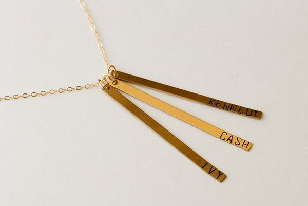 Long bar hand stamped necklace