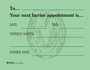 Farrier Forms Appointment Pads