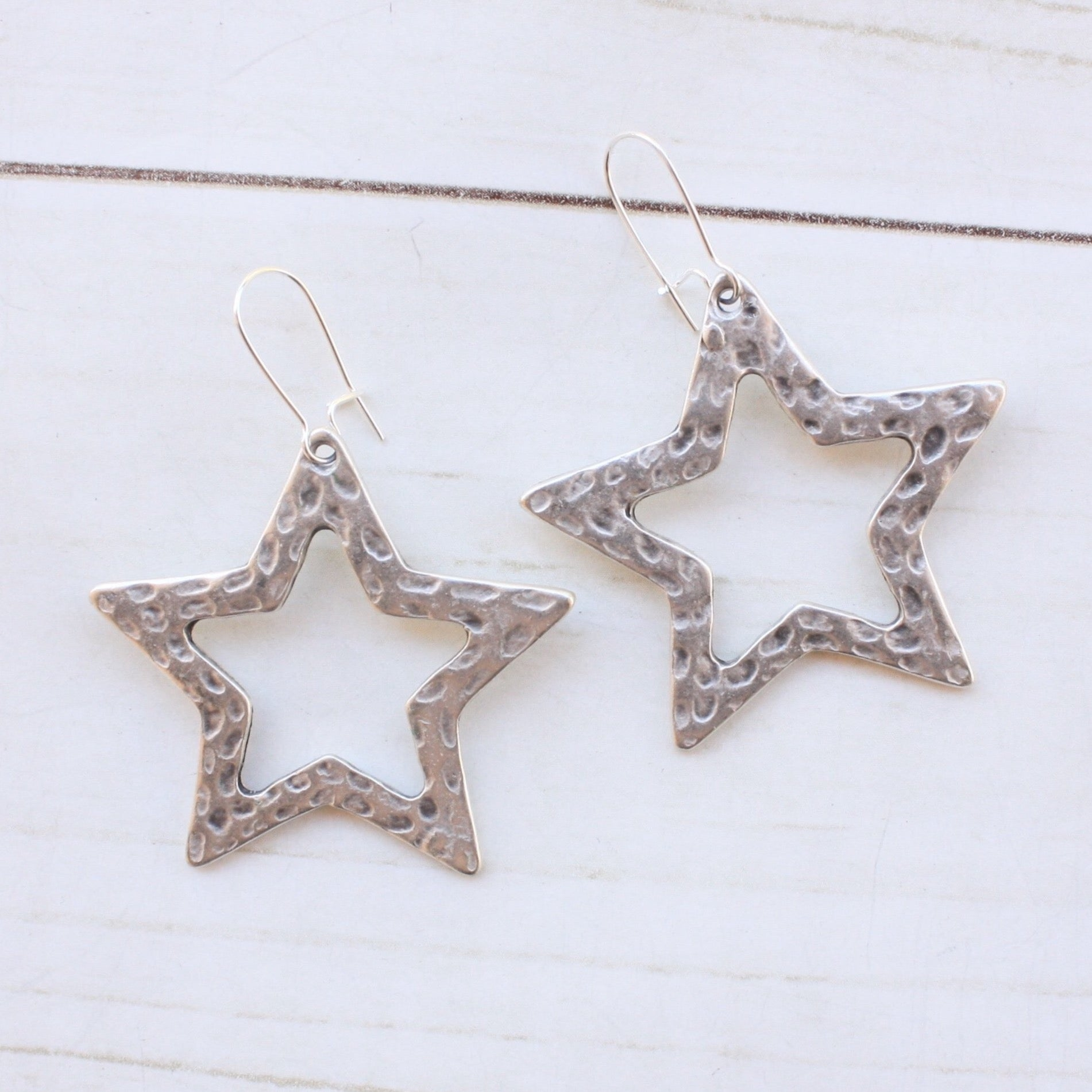 Hammered Star Earring