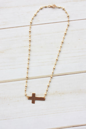 Hammered Cross On Rosary