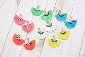 Lily Embroidered Raffia Fan