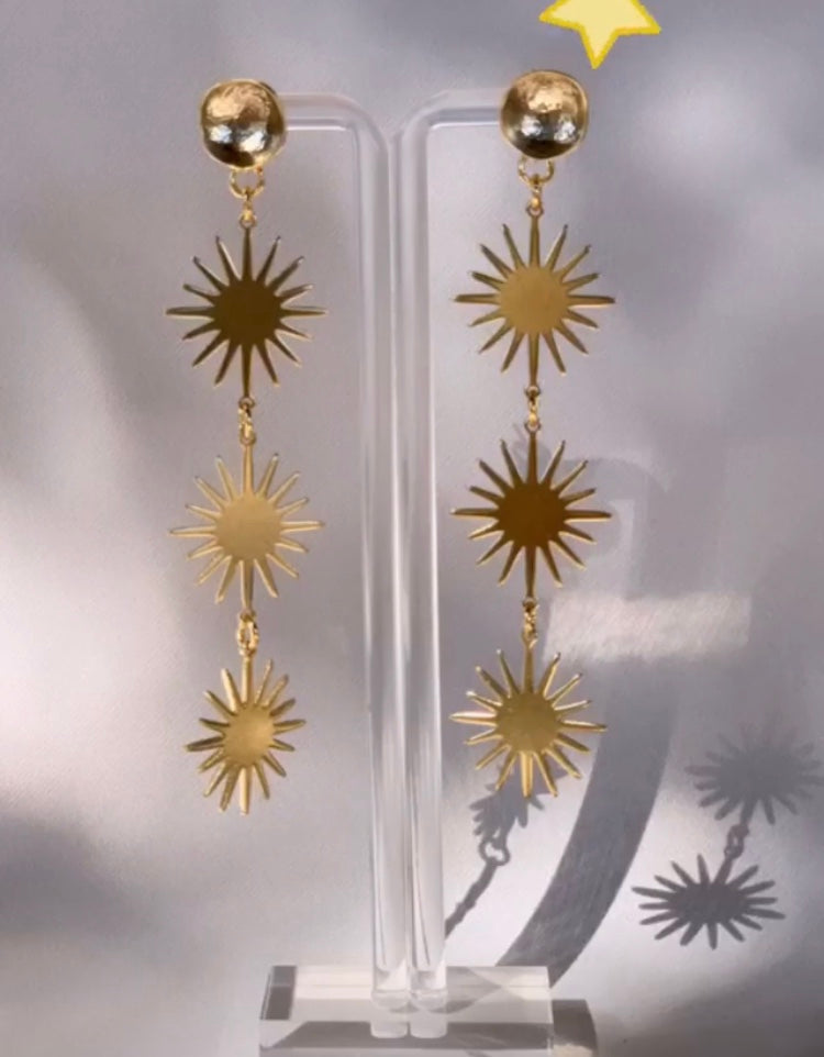 Triple Sunburst Earring