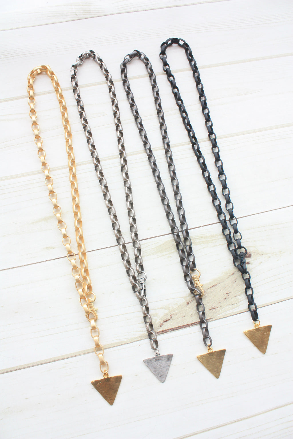 Oval Rolo Adjustable Necklace w/ Triangle
