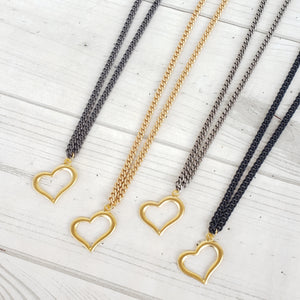 Medium Curb Chain Hanging Heart