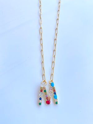 Colorful Monogram Gemstone Initals