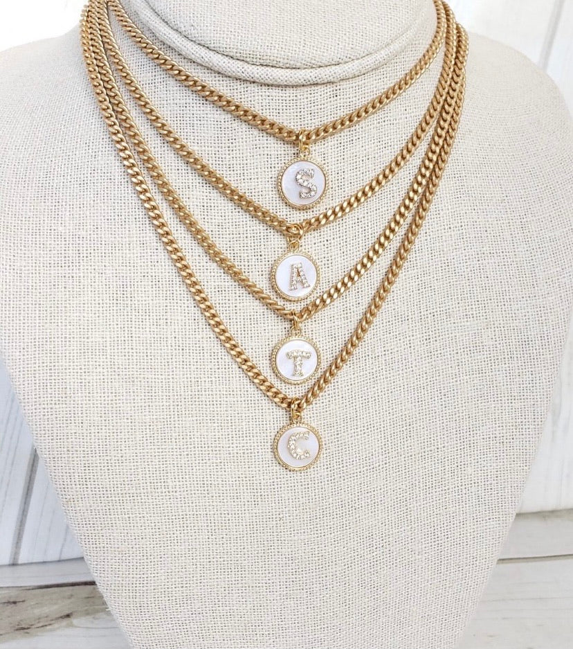 "16"" Monogram Necklace on Small Curb"